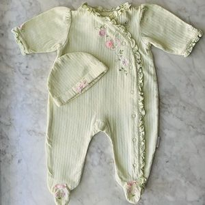 3-6M Pastel Green Footed Romper With Matching Hat